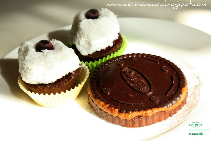Mini cupcakes and big caramel biscuit.  Raw Vegan Desserts by Corina Bacalu.
