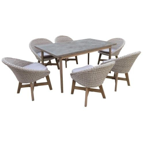 Delacora DF 6071 BAD 7 Piece Eucalyptus Framed Outdoor Dining Set With  Cement (