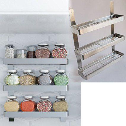Stainless Steel Kitchen Spice Shelf Rack Kitchen Organizer Wall Mount    $29.99