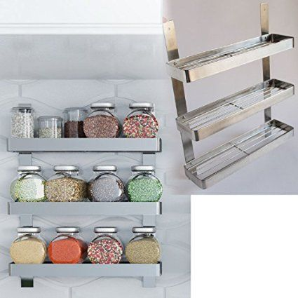 I installed 5 of these and some hanging rods with hooks for tool storage on one wall in place of upper cupboards.  Everything is organized, and in plain sight for easy use.   Stainless Steel Kitchen Spice Shelf Rack Kitchen Organizer Wall Mount