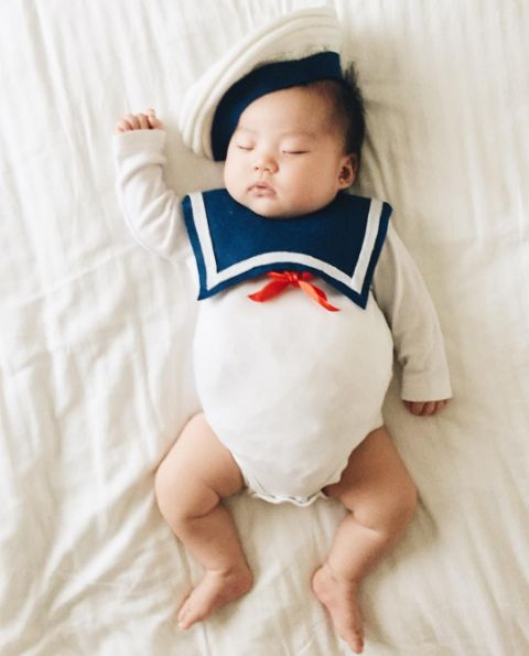 …the Stay Puft Marshmallow Man from Ghostbusters… | This Mom Dresses Her Baby Up In The Most Amazing Costumes While She Naps