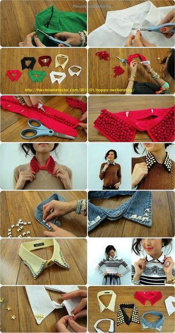 Cut off the collar of a shirt, embellish!