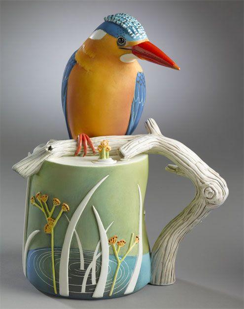 Malachite Kingfisher - Porcelain / 10.5 x 8.5 x 5.5 in. - Annette Corcoran