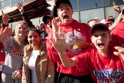Philadelphia, Pennsylvania, USA - October 31, 2008: Fans gathered on Broad Street in Philadelphia, Pennsylvania for the 2008 World Series Parade to celebrate the win of the Philadelphia Phillies in...