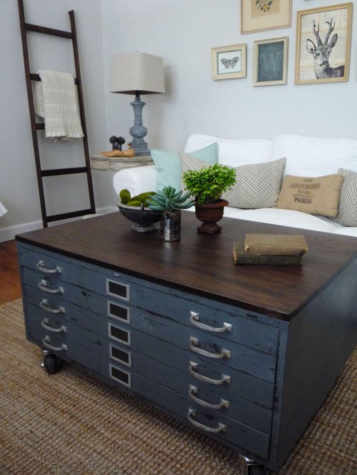 Vintage cole steel blueprint cabinet map drawer industrial coffee table repurposed grey wood