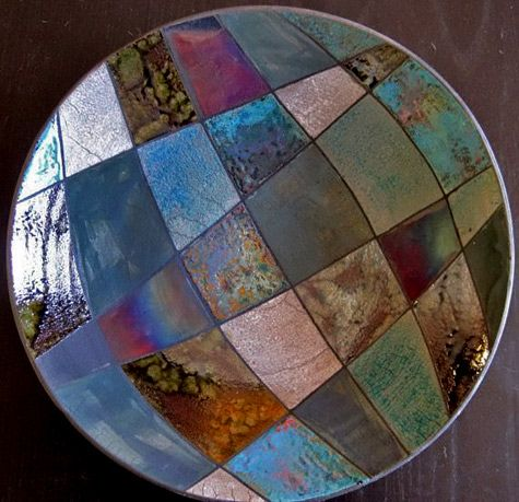 Fire Art Pottery-patchwork-raku plate