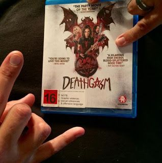 Deathgasm on Blu Ray as modelled by Mr Leon Taylor - looking up on Facebook, Instagram and everywhere.