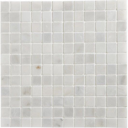 Mosaique mineral marbre artens blanc 2 3x2 3 cm for 8x4 bathroom design