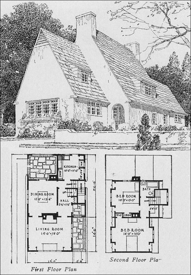 1923 plan 403 john floyd yewell - English Cottage House Plans
