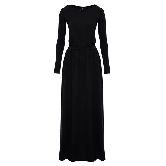 Купить Платье-макси черное хлопковое трикотажное с длинными рукавами с резинкой на поясе Oh, my