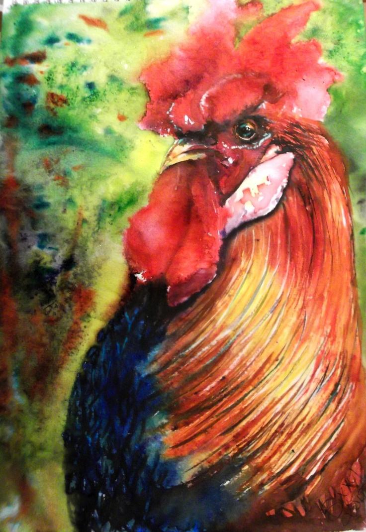Le Coq Francais.  Brusho Cockrel Watercolor  by Bix Nash