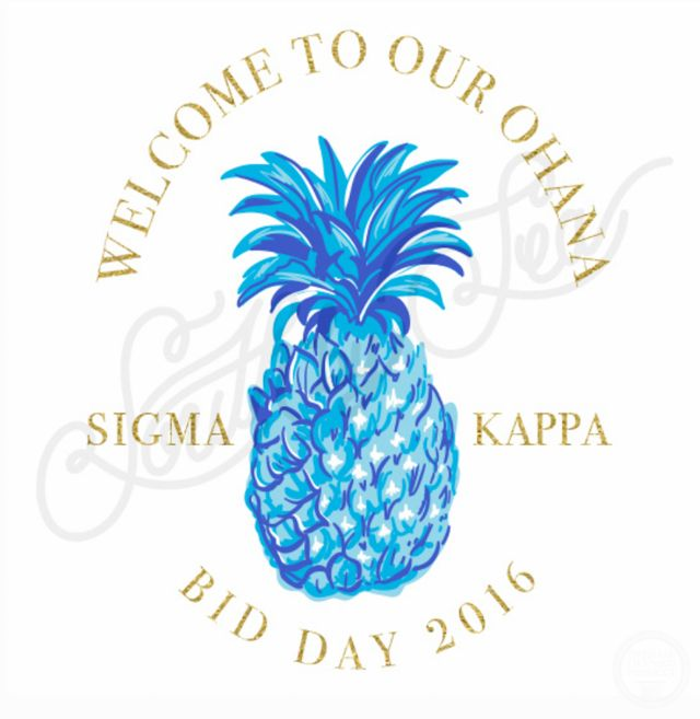 Pineapple T-Shirt Design | Blue Pineapple | Sigma Kappa | Bid Day T-Shirt Design…