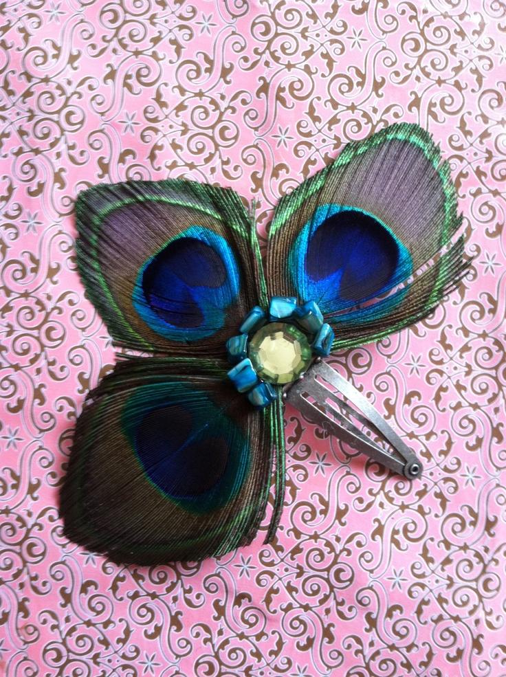 Peacock Hair Clip  Handmade