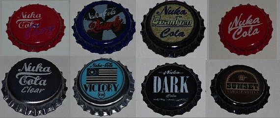 For Sale are 8 various fan made, nuka bottle caps inspired by the game fallout.  The caps are Nuka Cola Nuka Cherry Nuka Victory (Op. Anchorage Edition) Nuka Quartz Nuka Clear Nuka Quantum Nuka Dark Sunset Sarsaparilla 26mm bottle caps, made from the highest quality tin free steel. These are professionally printed bottle caps, no paper stickers. Brand new and can be used to cap bottles with.  Free Delivery & Will be posted first class. Thanks for looking