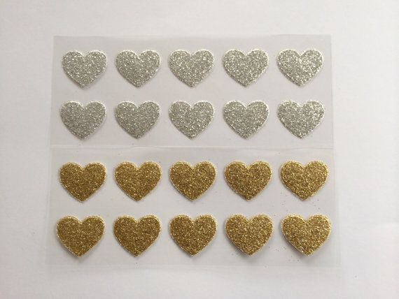 Gold Glitter Heart Stickers.Silver by SnowflakeDesigns2015 on Etsy