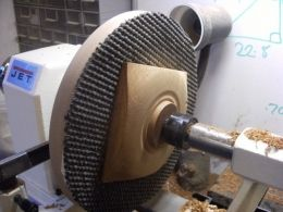 Bowl Chuck - Homemade bowl chuck constructed from a faceplate ring, MDF, and non-slip router mat.