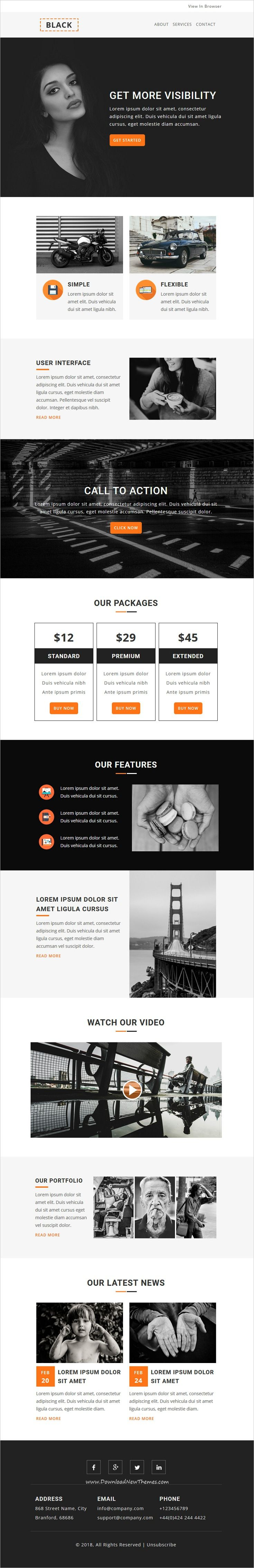 Black is clean and modern design 4in1 responsive email newsletter #template for #viral marketing with online stampready builder access and 50+ modules to live preview & download click on image or Visit 👆 #emaildesign #newsletterlayout