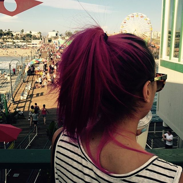 Throwback to my disgustingly beautiful fuchsia hair that I miss.  #pinkhair #manicpanic #santamonica