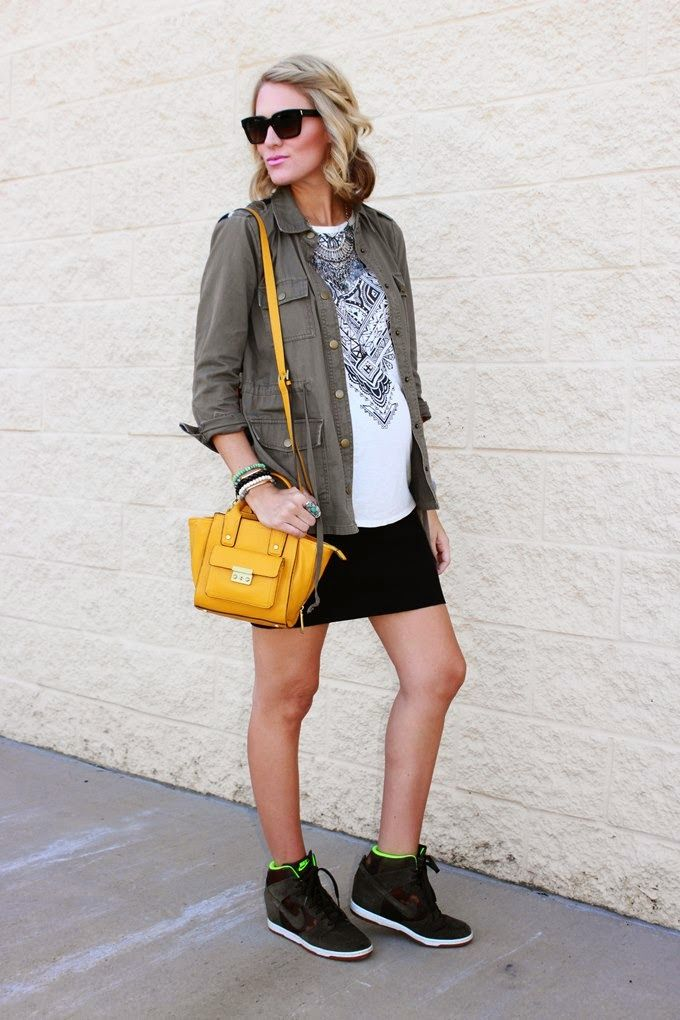 Utility jacket and a mini skirt with high-top wedge sneakers. #favoritebloggers #outfit #inspiration