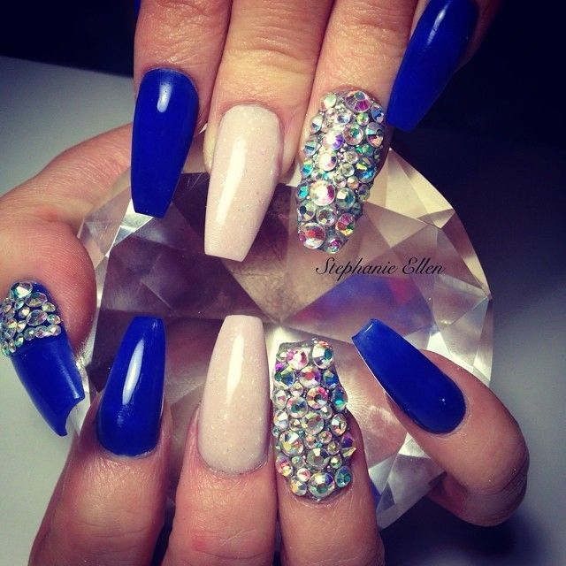 Best 25 royal blue nails ideas on pinterest blue nails blue royal blue light pink acrylic square tip nails w rhinestones prinsesfo Images