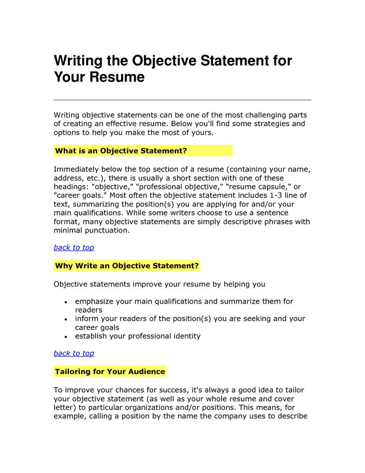 How To Write Goal For Resume - Better opinion
