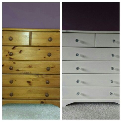 Old pine chest of drawers upcycled with Annie Sloan chalk paint. Crystal knobs added.  Complete revamp
