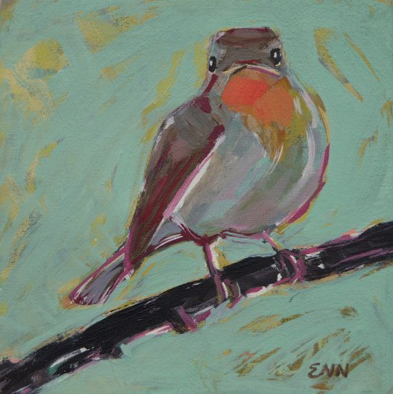 Original oil bird painting / Red-breasted by NielsenDenmark