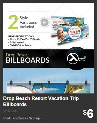 Drop Beach Resort Vacation Trip Billboards