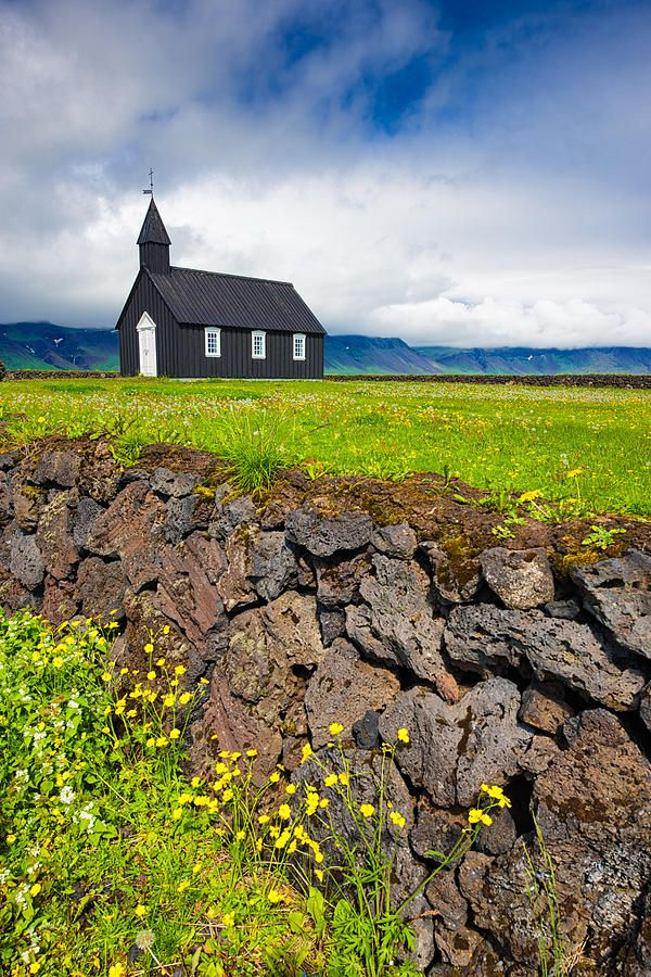Budir church Iceland Art Print for sale. Beautiful landscape with green meadow and brown stone wall, very idyllic. Available as poster, framed fine art print or canvas print. Matthias Hauser hauserfoto.com - Art for your Home Decor and Interior Design needs.