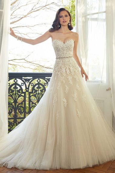 Stunning beading on the bodice of this Sophia Tolli wedding gown