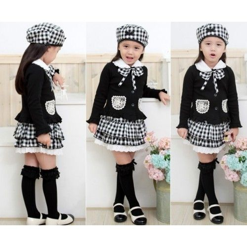Black & white plaid tiered skirt and top with matching hat