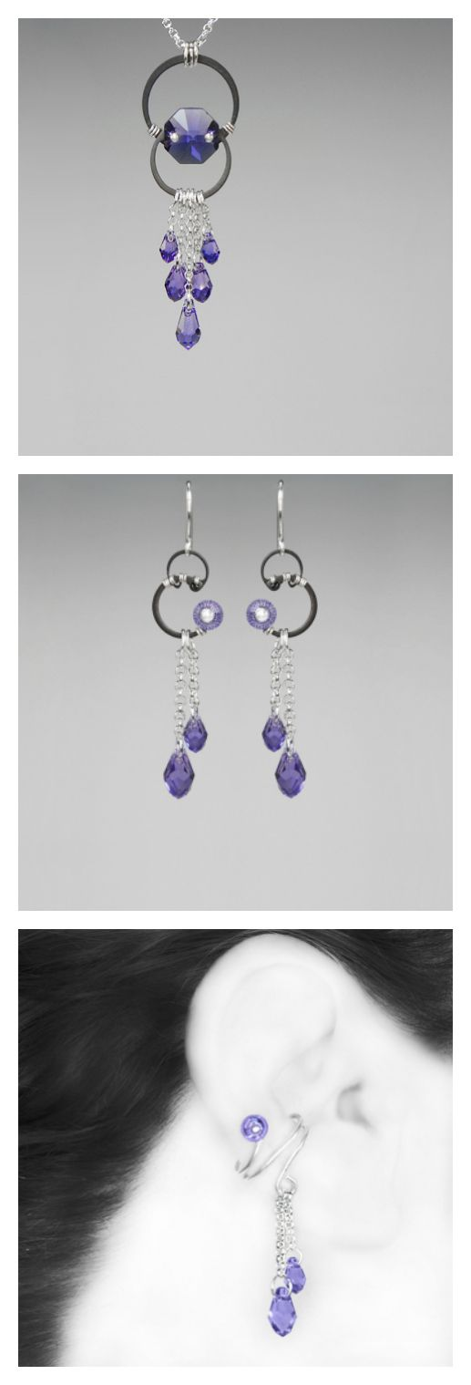 Lovely tanzanite Swarovski crystal industrial jewelry, perfect for any occasion! 💜