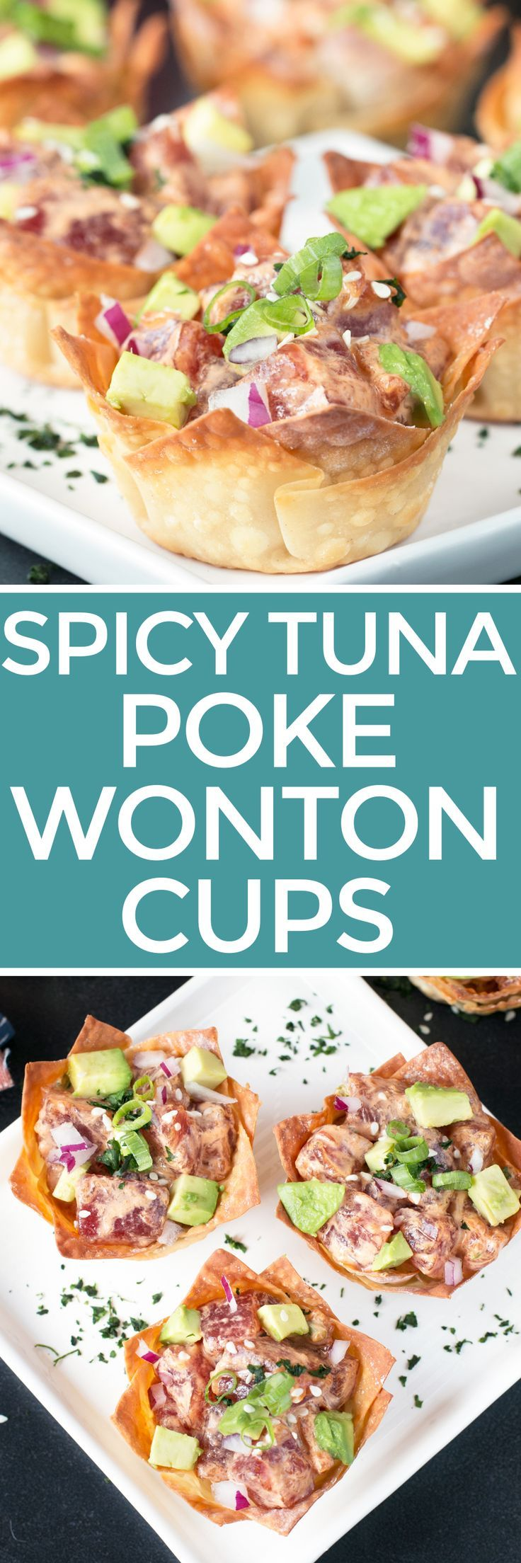 Spicy Tuna Poke Wonton Cups are how I take myself back to Hawaii through food. Each bite of the spicy, fresh, delicious fish in crispy golden wonton cups is an explosion of complex flavors that only take a few minutes to pull together. If you can't fly to Hawaii, then take yourself there on a wave of these island flavors! Spicy Tuna Poke and Avocado Wonton Cups | cakenknife.com #party #entertaining #recipe