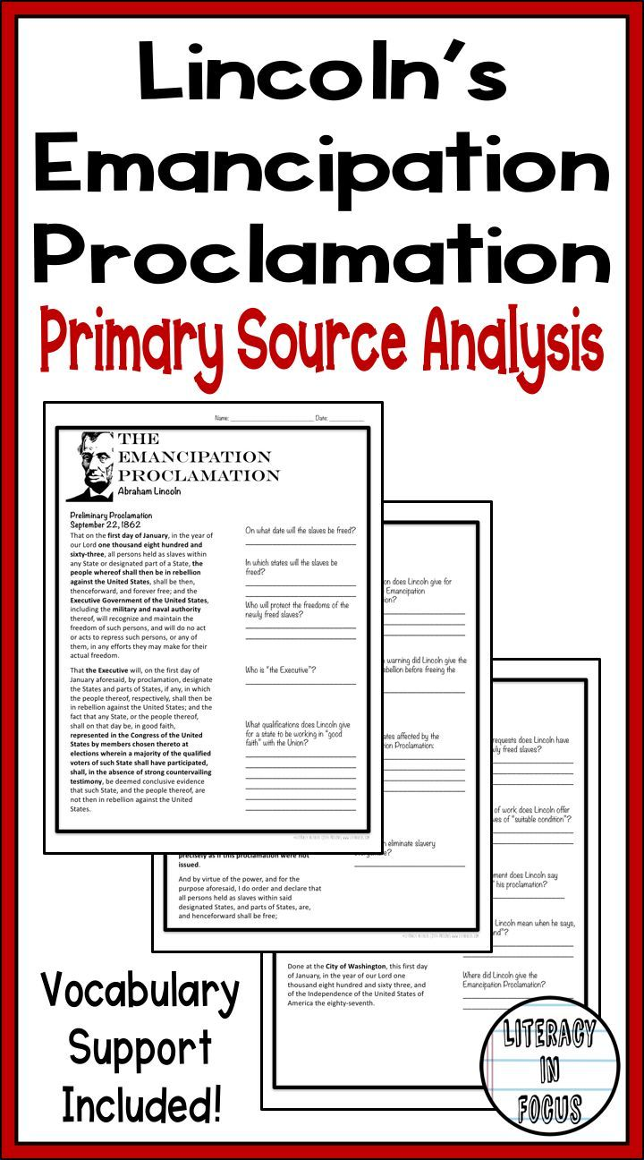 Abraham Lincoln S Emancipation Proclamation Primary Source Analysis Common Core Upper Elementary Resources 7th Grade Social Studies Emancipation Proclamation
