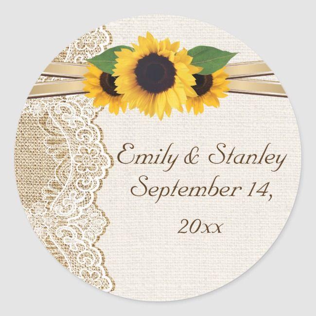 Custom Stickers for Wedding Vintage Wedding Yellow Wedding