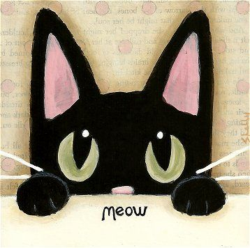 Items Similar To Original Black Cat Painting Hand Painted Mixed Media Art By Shelly Mundel On Etsy