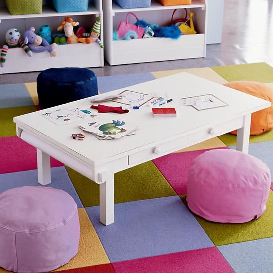 The Land Of Nod | Kidsu0027 Play Tables: Kids White Adjustable Activity Table In