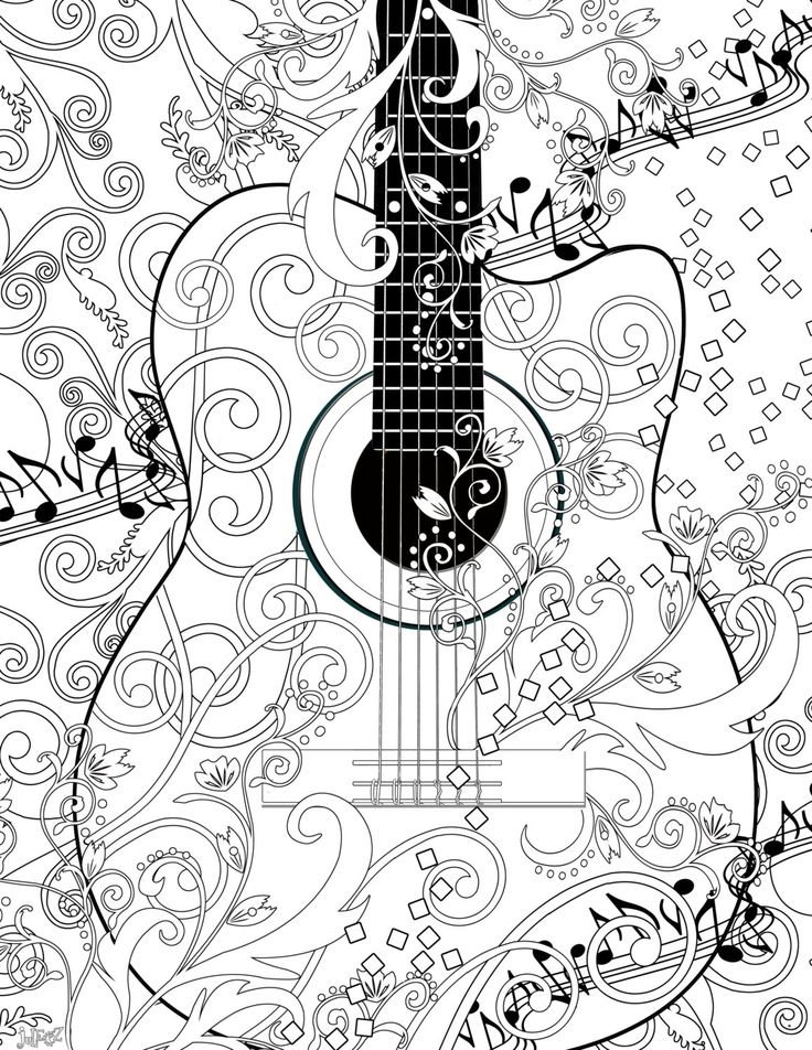adult coloring page printable adult guitar free by juleezgallery - Coloring The Pictures