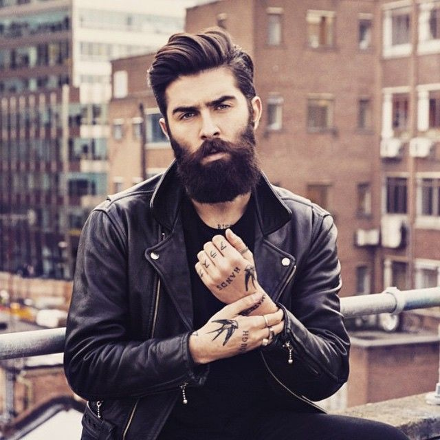Chris John Millington - full thick dark beard and mustache beards bearded man men mens' style clothing model fashion winter tattoos tattooed bearding #beardsforever: