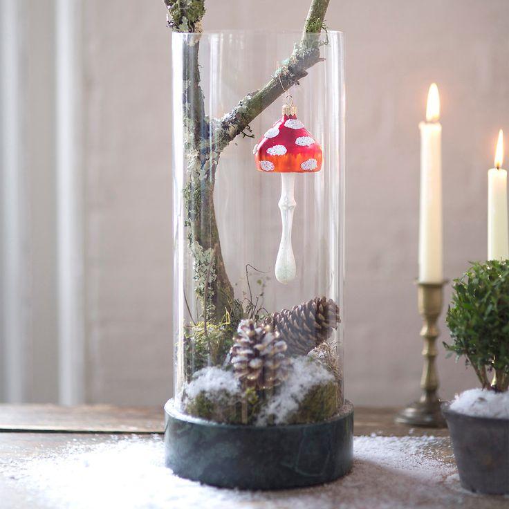 Forest Mushroom Glass Ornament, Small