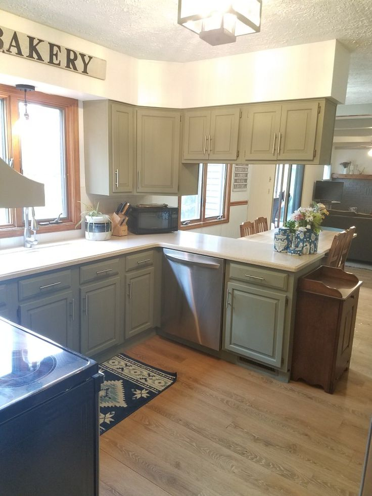 Green kitchen cabinets. Cabinets painted in Annie Sloane ...