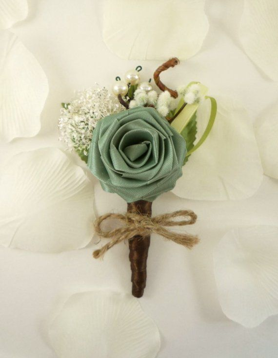 Origami Rose Boutonniere Ecology Style Groom by TheWhiteBouquet