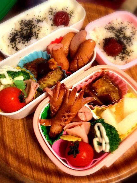 運動会の代休なので学童保育です。 - 3件のもぐもぐ - お子ちゃまお弁当2人分♪ by yunanami