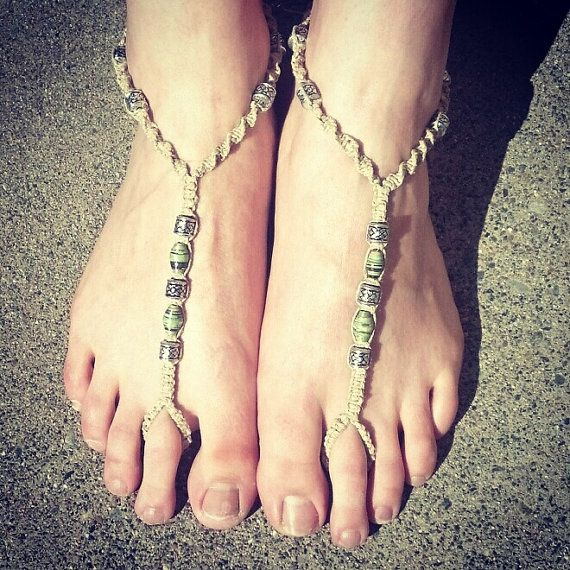 Barefoot sandals. macrame bottomless sandals. bohemian hemp jewelry. gypsy style via Etsy