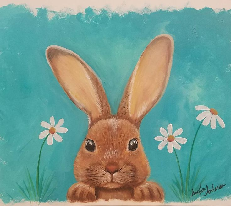 "154 Likes, 9 Comments - Angela Anderson (@thankfulart) on Instagram: ""Spring Bunny Acrylic Painting Tutorial on YouTube by Angela Anderson #rabbit #spring #angelafineart…"""