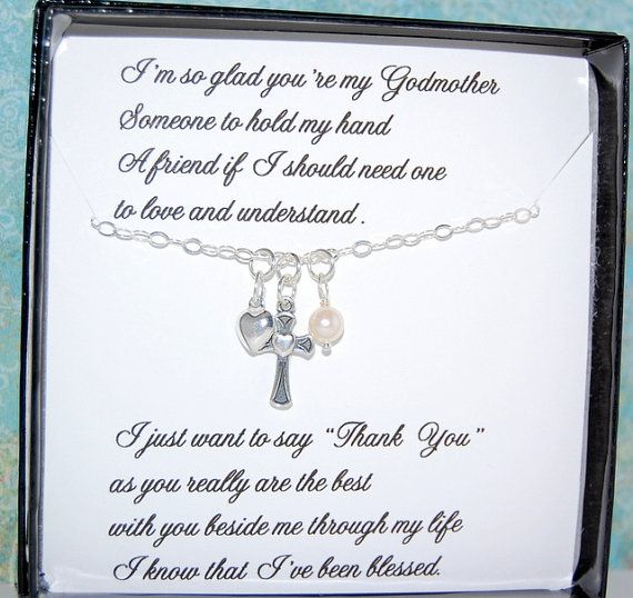 GODMOTHER Necklace, Gift Message card included, to Godmother from Goddaughter or Godson, Gift set for Godmother, Godchild,Christmas gift