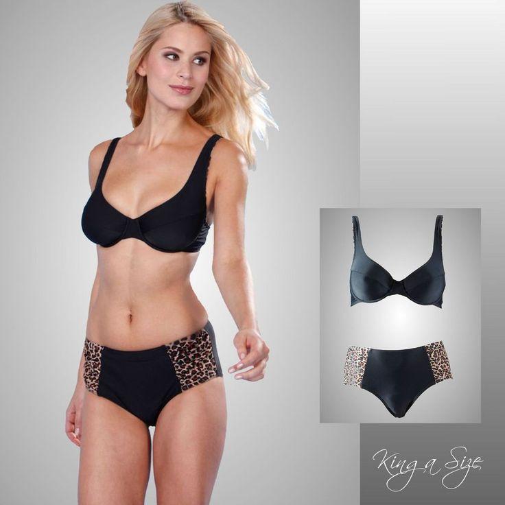 Bügel-Bikini / Badeanzug mit  Animal-Print-Einsätzen - Leo  Gr.44  schwarz NEU