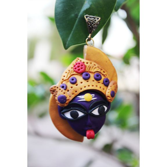 The possibilities of creative ideas are endless when it comes to Polymer Clay and we present to you, our collection of skillfully crafted ethnic jewelry designs, which are inspired by divinity Care - Store in zip lock pouches and clean with soft cotton when required  Dimension - L 8cms;  weight 20gms; Colour - Purple + gold Material - Polymer ; Finish - Handcrafted ; Metal Bail