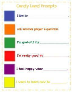 Self-Esteem Prompts for Candy Land free