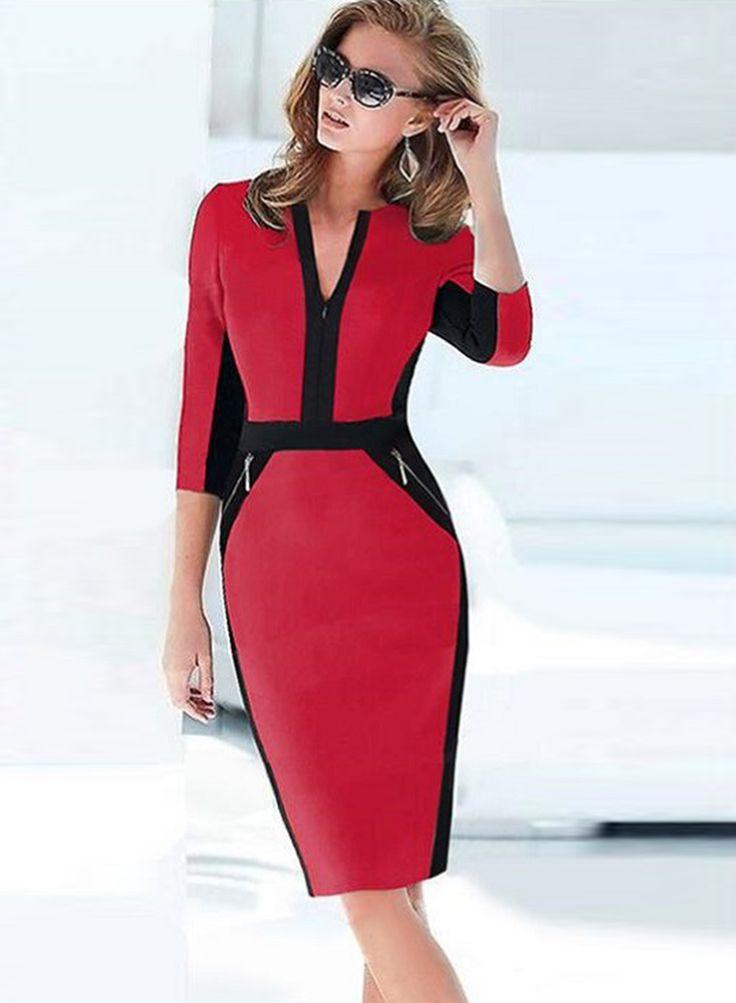 Half Sleeve Zipper Bodycon Office Dress
